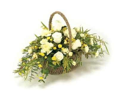 Sympathy Basket-Yellow & White