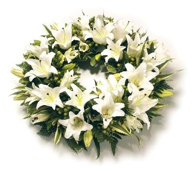 Wreath-All White Lillies